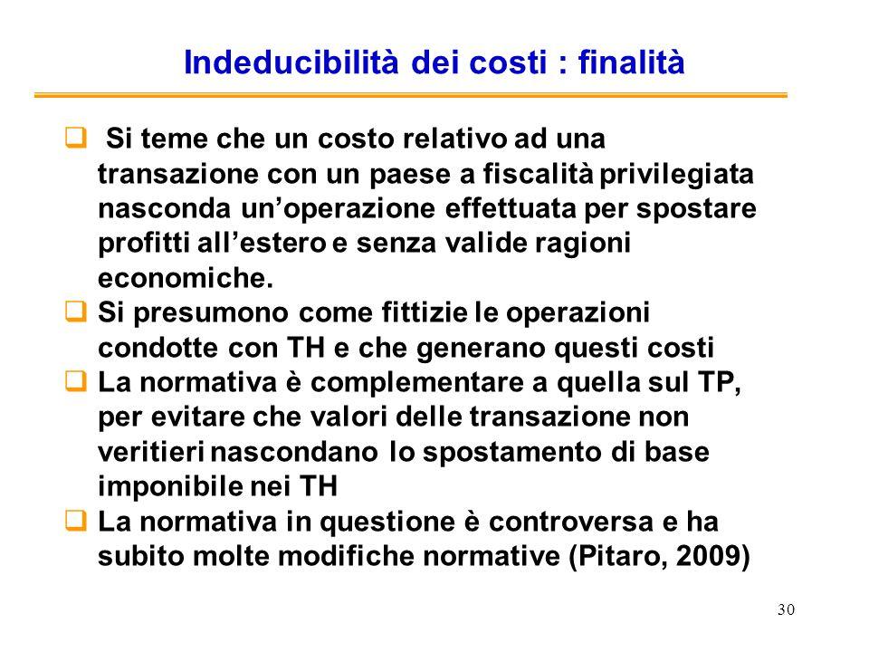 Indeducibilità dei costi : finalità