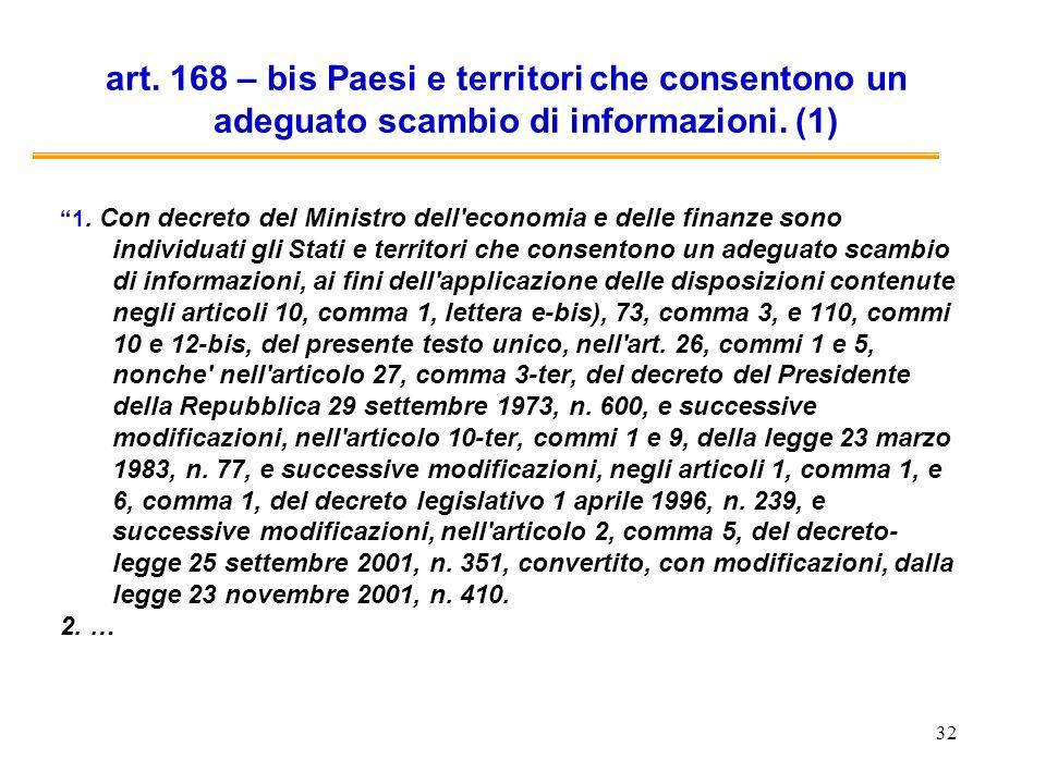 art. 168 – bis Paesi e territori che consentono un adeguato scambio di informazioni. (1)