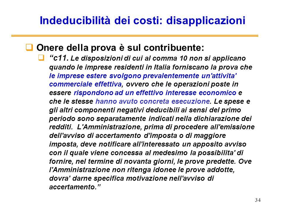 Indeducibilità dei costi: disapplicazioni