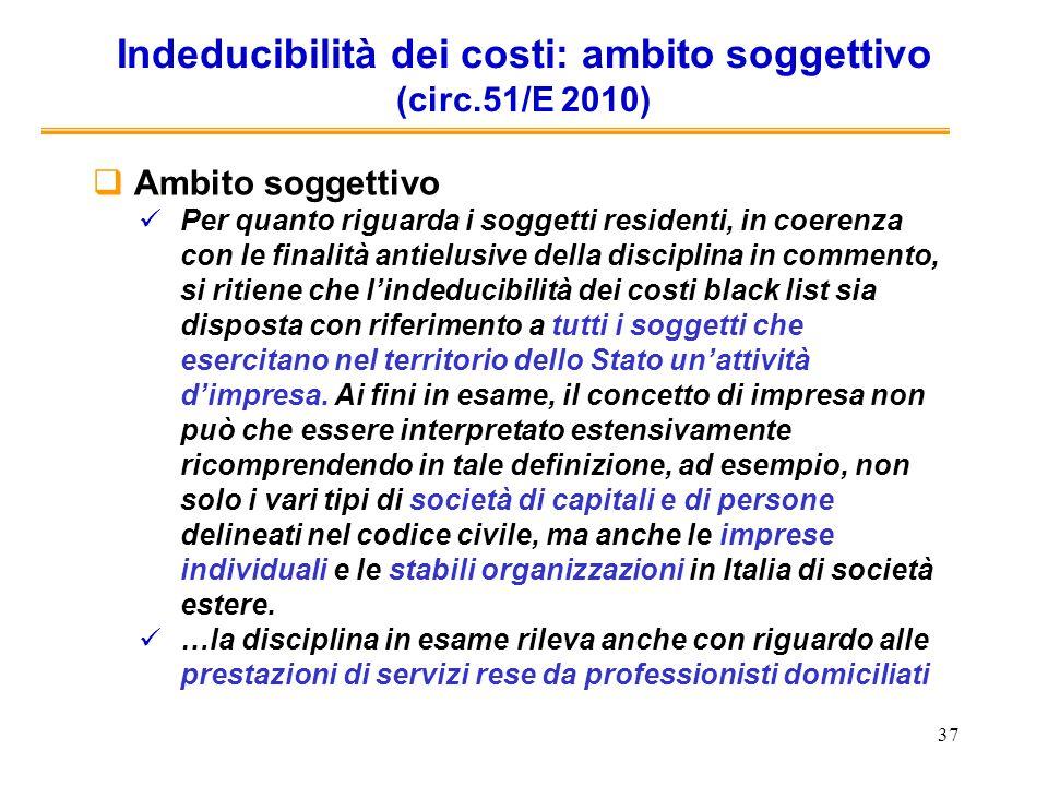 Indeducibilità dei costi: ambito soggettivo (circ.51/E 2010)