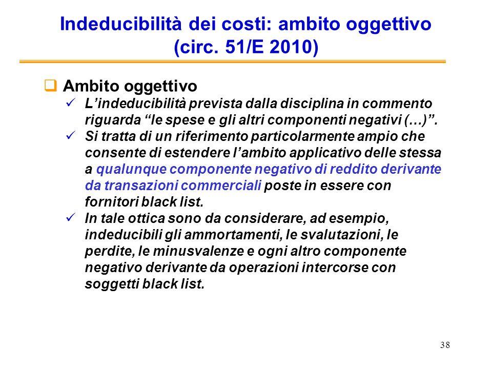 Indeducibilità dei costi: ambito oggettivo (circ. 51/E 2010)