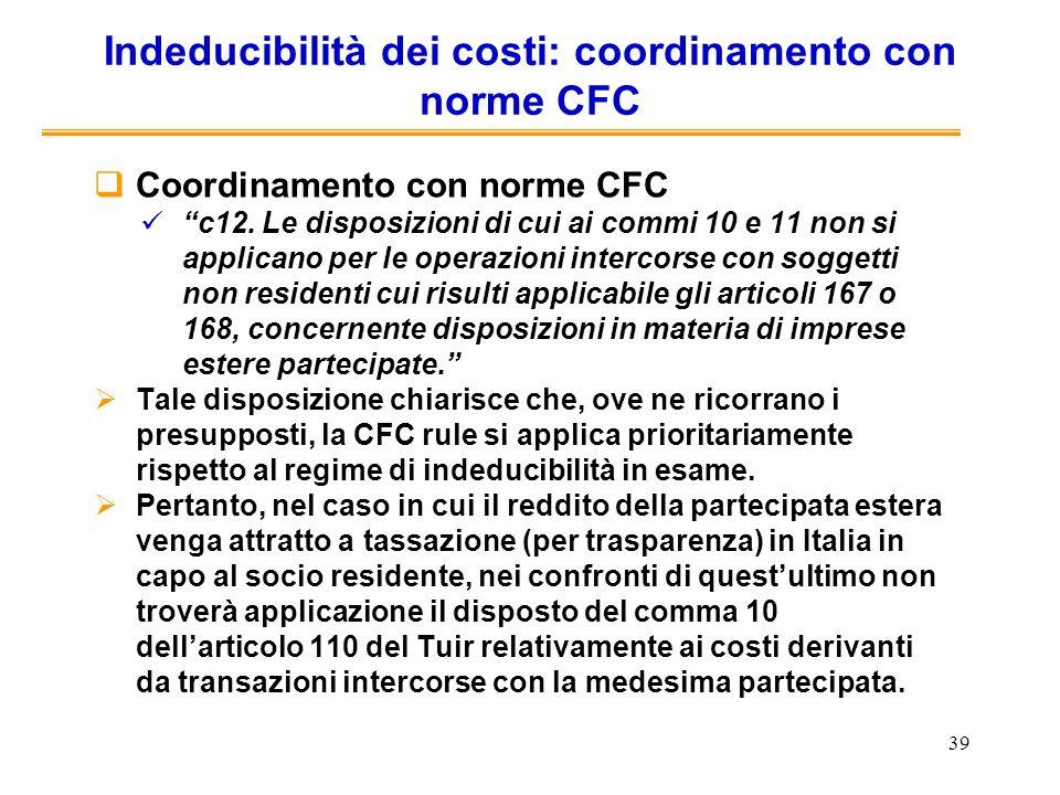 Indeducibilità dei costi: coordinamento con norme CFC
