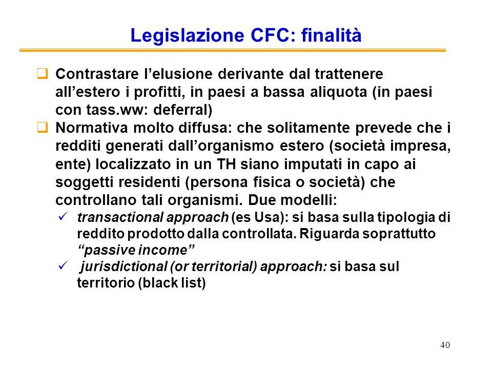 Legislazione CFC: finalità