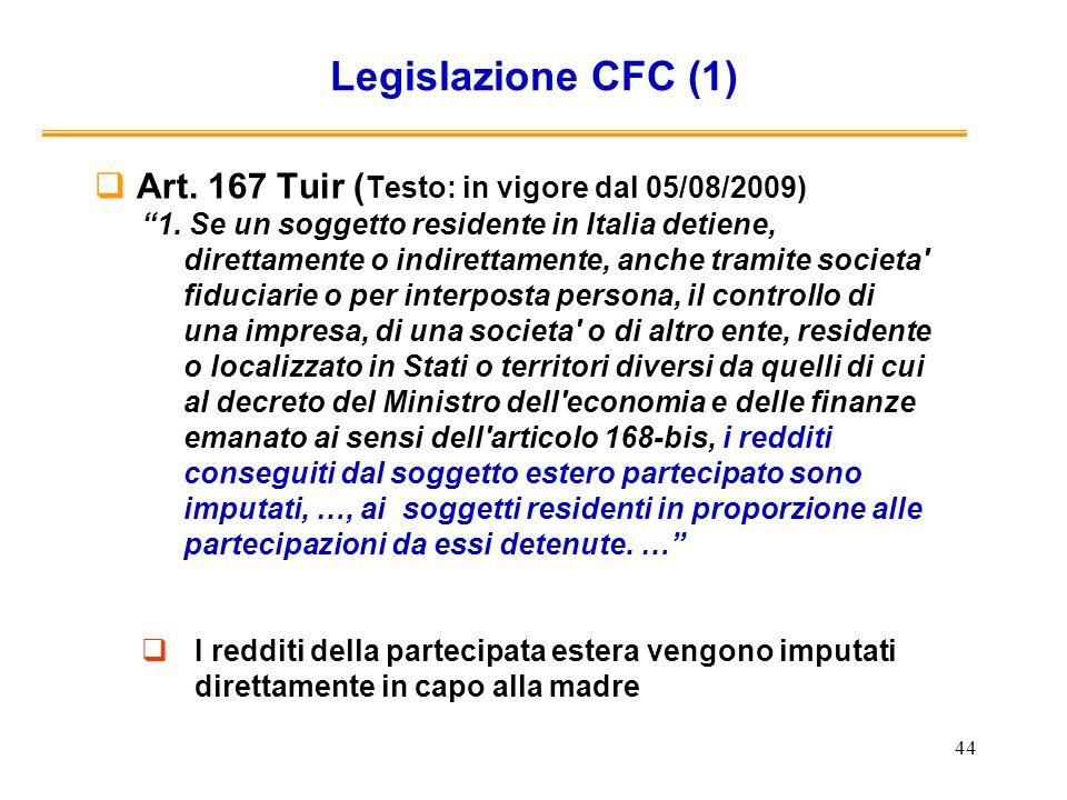 Legislazione CFC (1) Art. 167 Tuir (Testo: in vigore dal 05/08/2009)