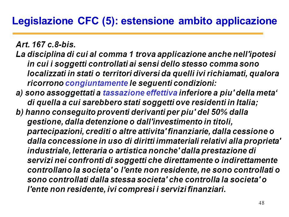 Legislazione CFC (5): estensione ambito applicazione