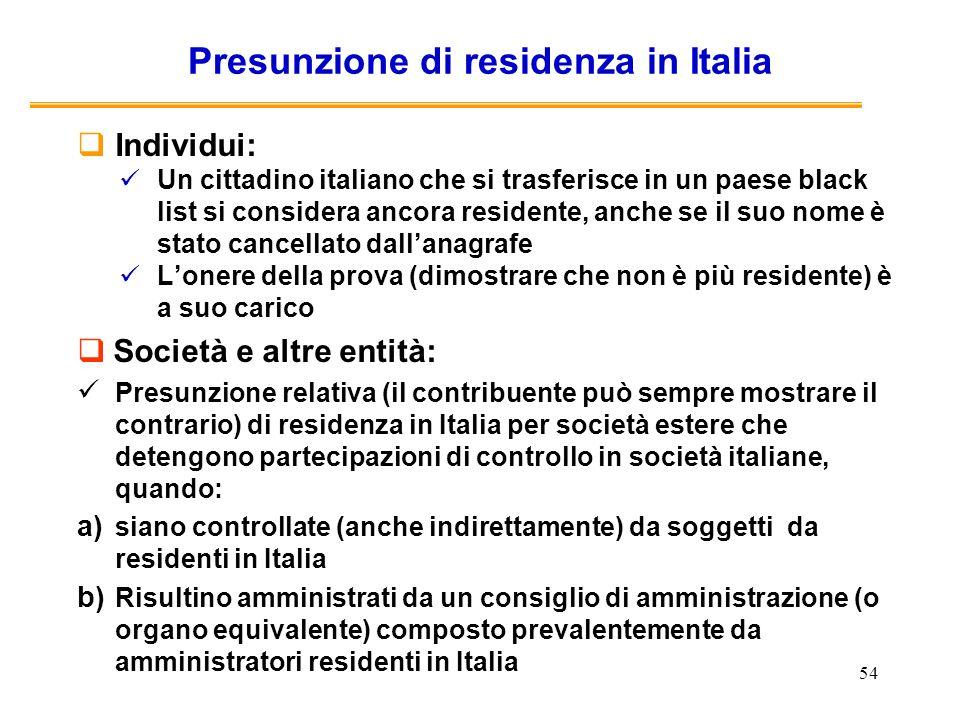 Presunzione di residenza in Italia