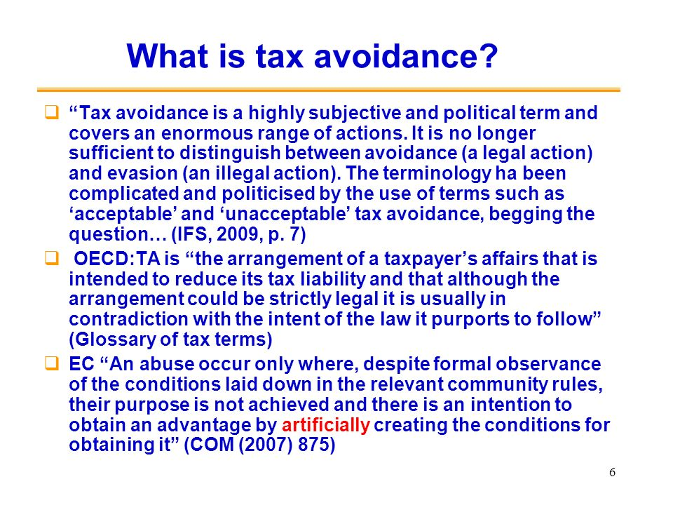 What is tax avoidance