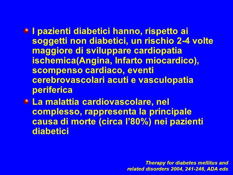 I pazienti diabetici hanno, rispetto ai soggetti non diabetici, un rischio 2-4 volte maggiore di sviluppare cardiopatia ischemica(Angina, Infarto miocardico), scompenso cardiaco, eventi cerebrovascolari acuti e vasculopatia periferica
