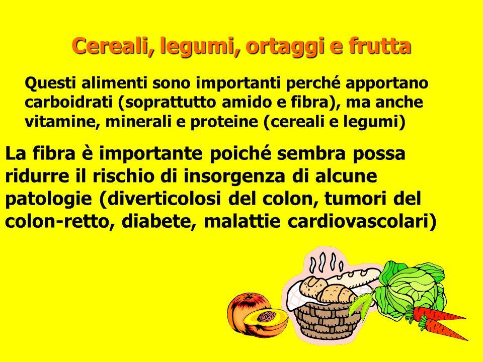 Cereali, legumi, ortaggi e frutta