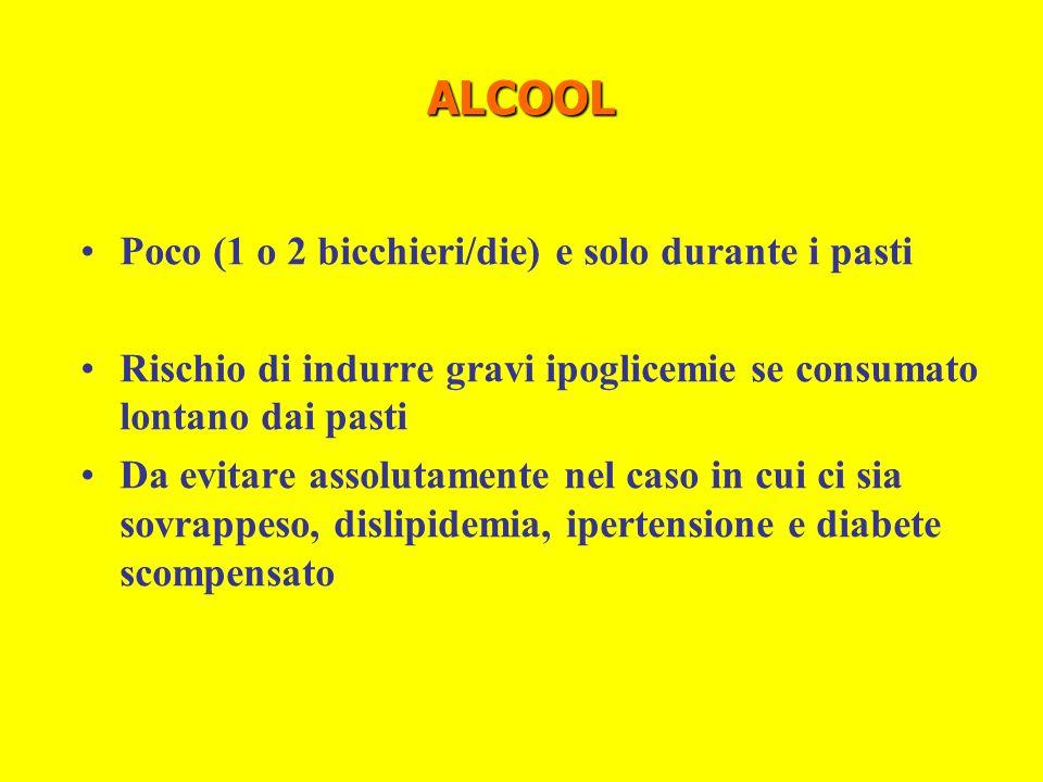ALCOOL Poco (1 o 2 bicchieri/die) e solo durante i pasti