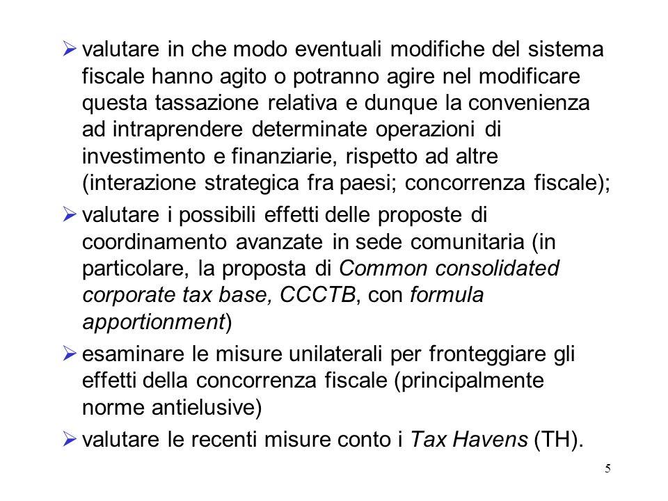 valutare in che modo eventuali modifiche del sistema fiscale hanno agito o potranno agire nel modificare questa tassazione relativa e dunque la convenienza ad intraprendere determinate operazioni di investimento e finanziarie, rispetto ad altre (interazione strategica fra paesi; concorrenza fiscale);