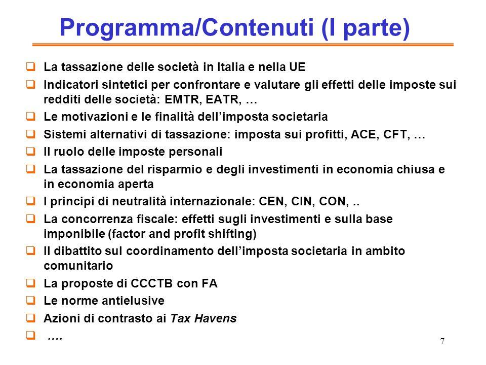 Programma/Contenuti (I parte)