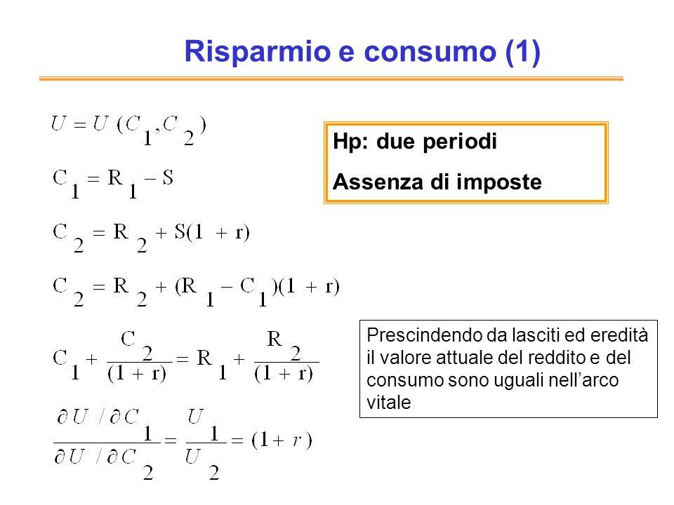 Risparmio e consumo (1) Hp: due periodi Assenza di imposte