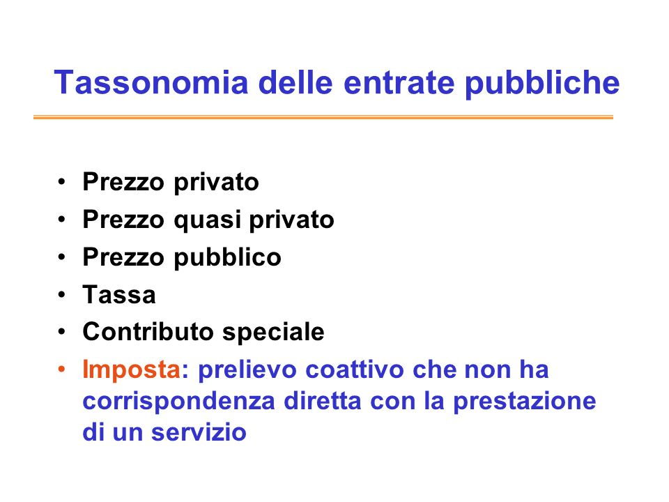 Tassonomia delle entrate pubbliche