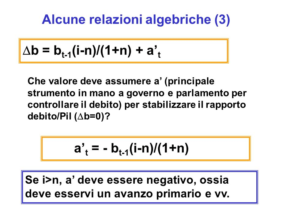 Alcune relazioni algebriche (3)