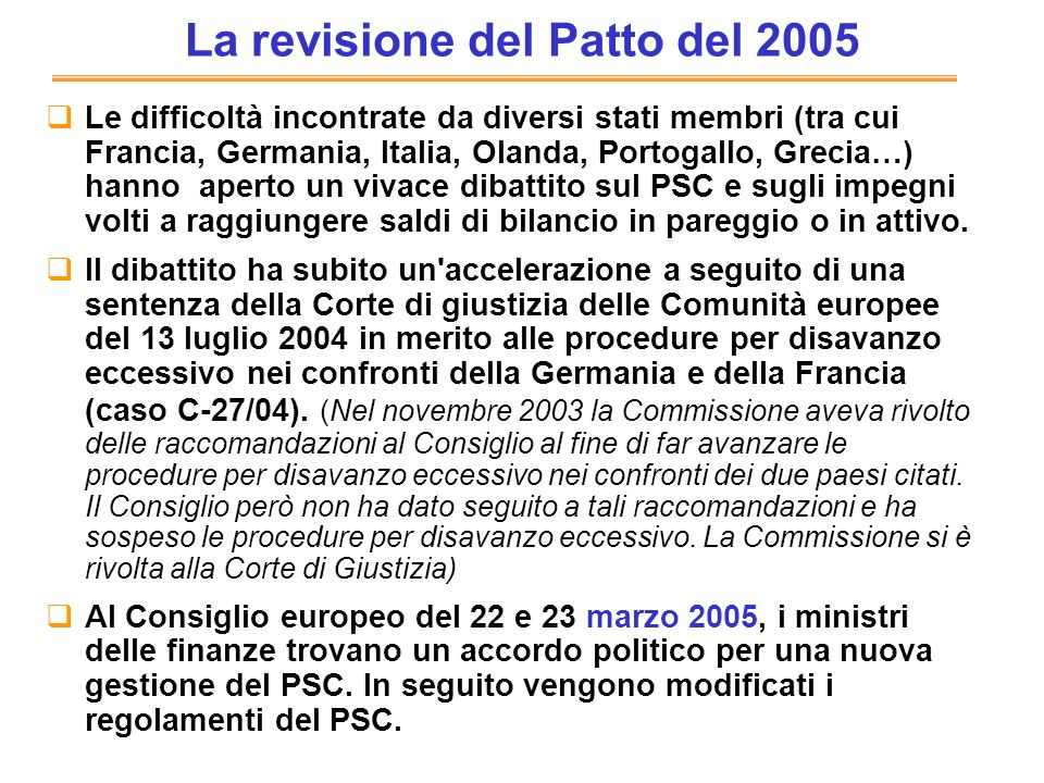 La revisione del Patto del 2005