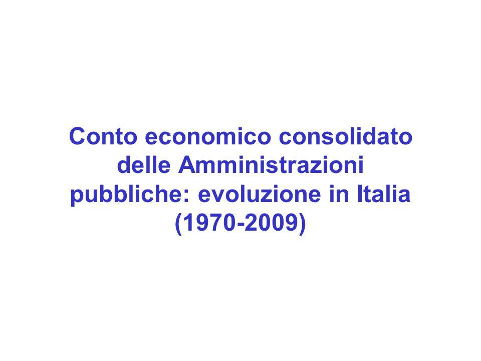 Conto economico consolidato delle Amministrazioni pubbliche: evoluzione in Italia (1970-2009)
