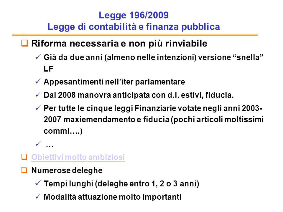 Legge 196/2009 Legge di contabilità e finanza pubblica