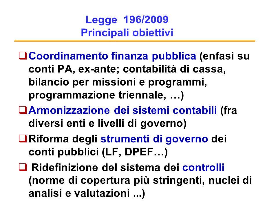 Legge 196/2009 Principali obiettivi