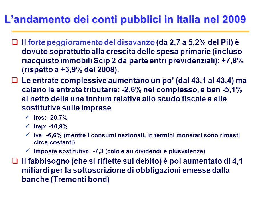 L'andamento dei conti pubblici in Italia nel 2009