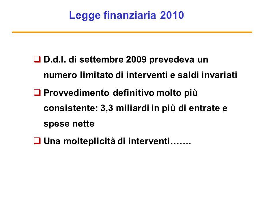 Legge finanziaria 2010 D.d.l. di settembre 2009 prevedeva un numero limitato di interventi e saldi invariati.