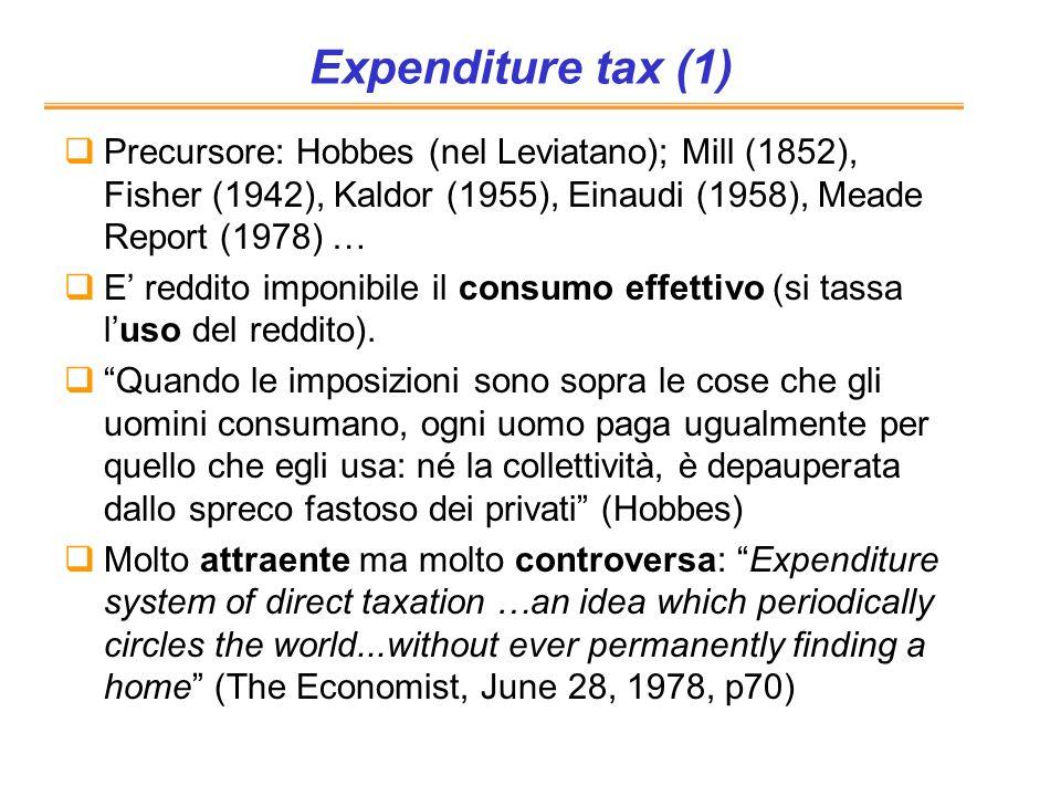 Expenditure tax (1)Precursore: Hobbes (nel Leviatano); Mill (1852), Fisher (1942), Kaldor (1955), Einaudi (1958), Meade Report (1978) …