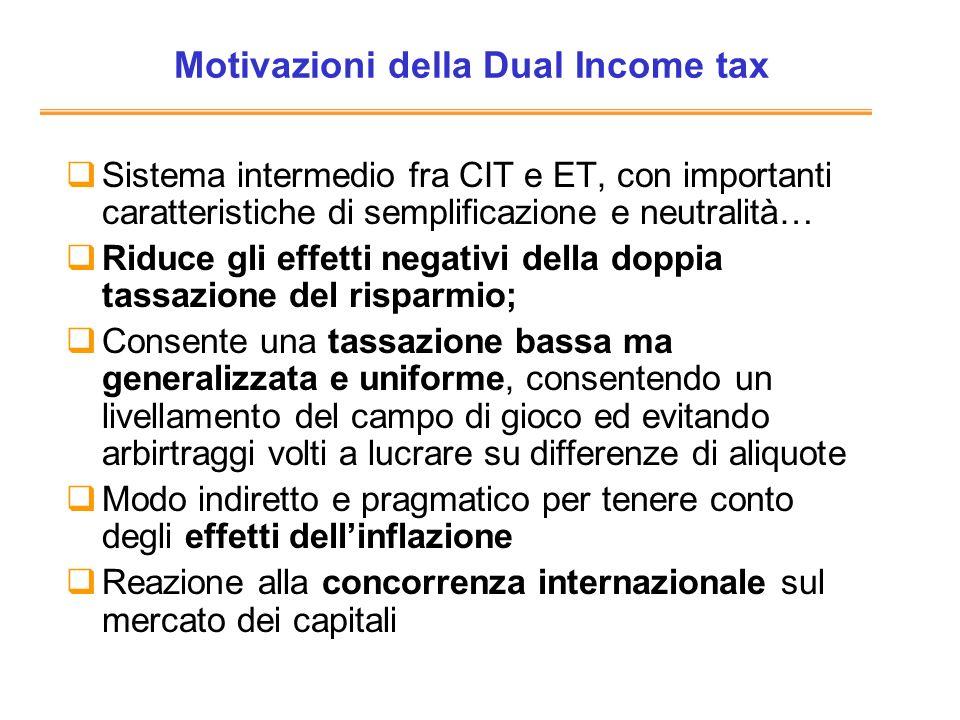 Motivazioni della Dual Income tax