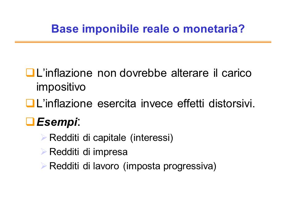 Base imponibile reale o monetaria