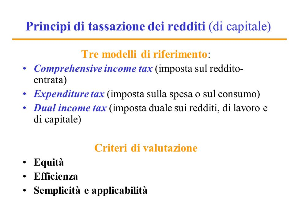 Principi di tassazione dei redditi (di capitale)