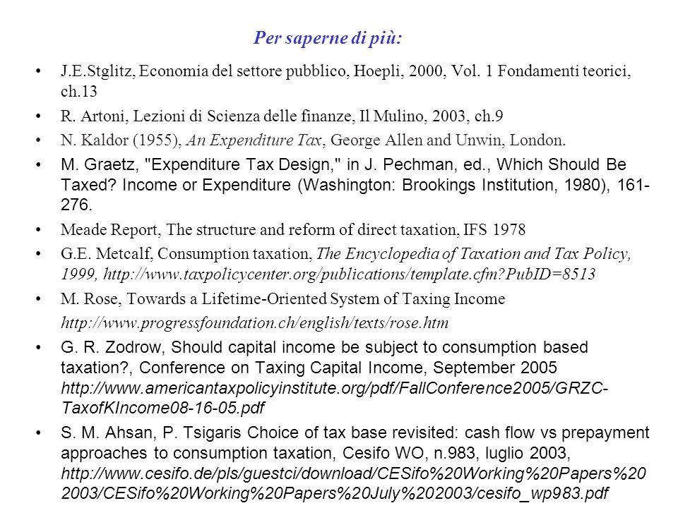 Per saperne di più: J.E.Stglitz, Economia del settore pubblico, Hoepli, 2000, Vol. 1 Fondamenti teorici, ch.13.