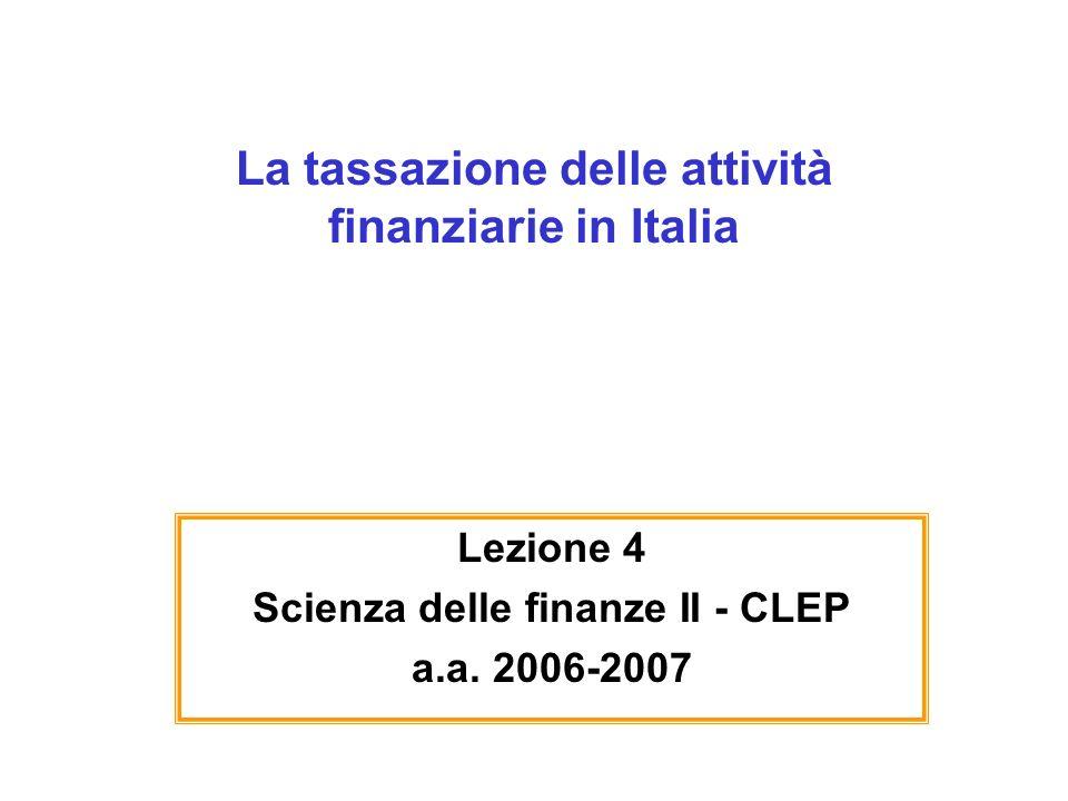 La tassazione delle attività finanziarie in Italia