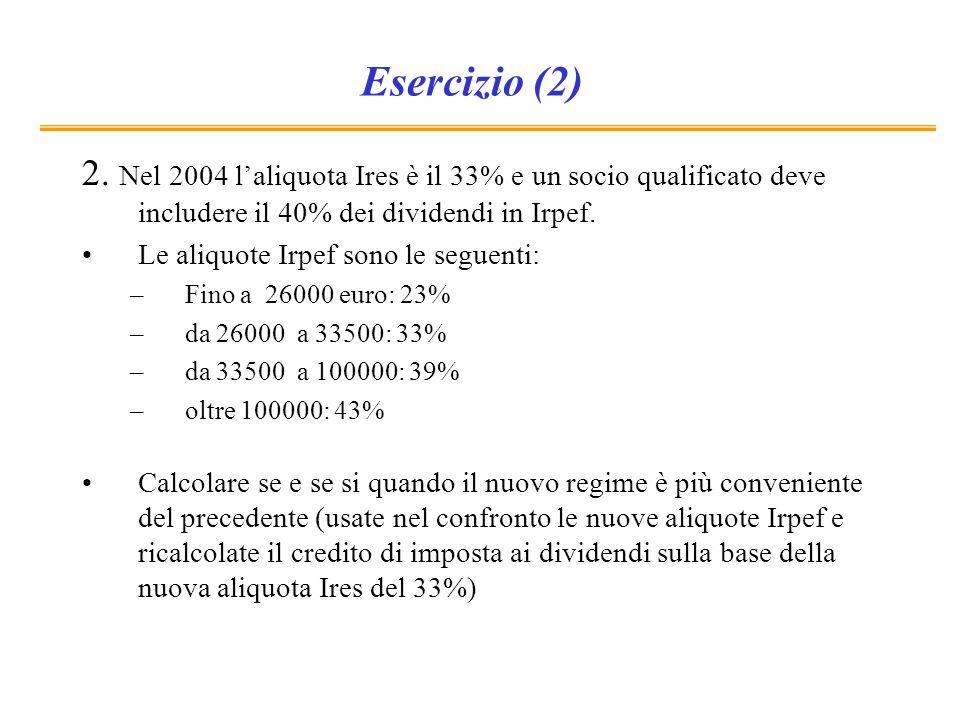 Esercizio (2) 2. Nel 2004 l'aliquota Ires è il 33% e un socio qualificato deve includere il 40% dei dividendi in Irpef.