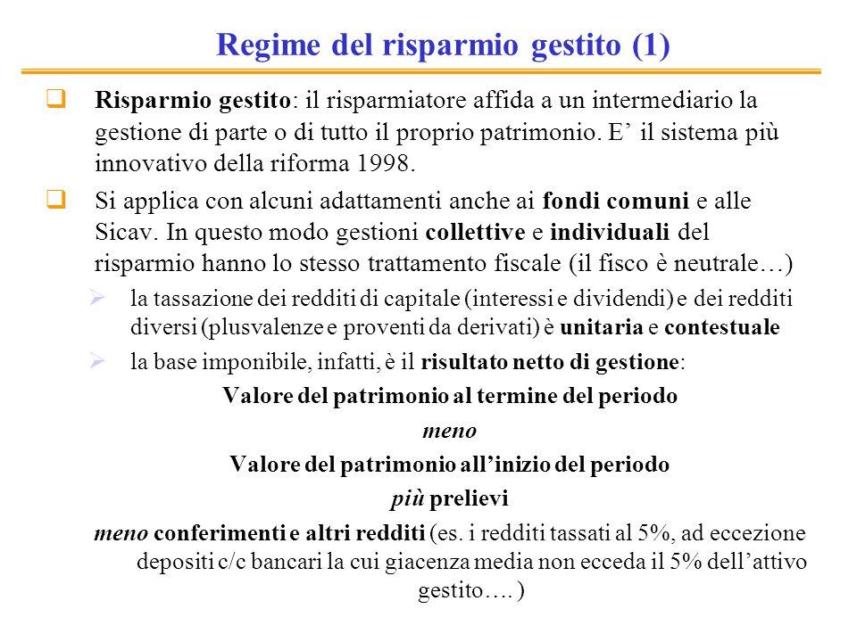 Regime del risparmio gestito (1)