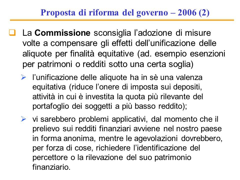 Proposta di riforma del governo – 2006 (2)