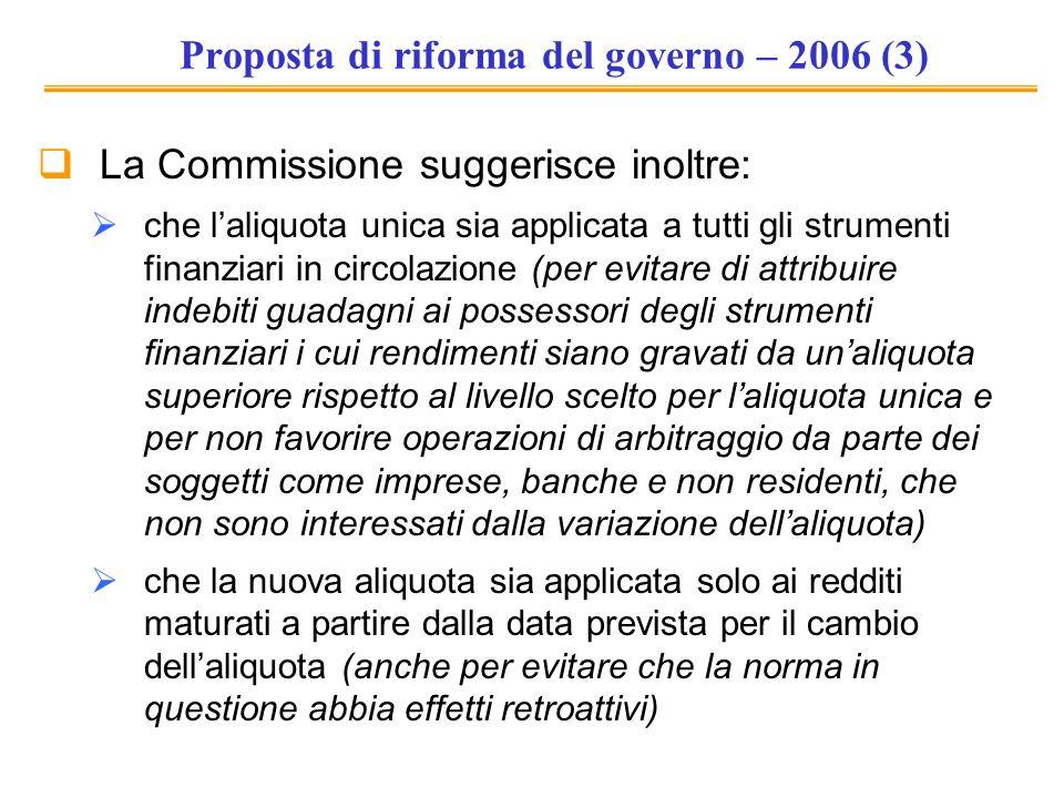 Proposta di riforma del governo – 2006 (3)