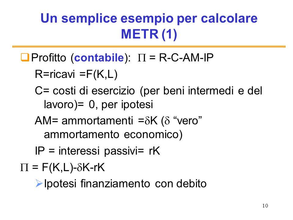 Un semplice esempio per calcolare METR (1)