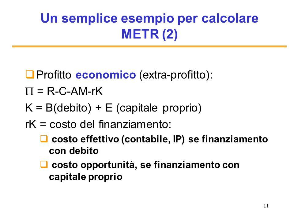 Un semplice esempio per calcolare METR (2)