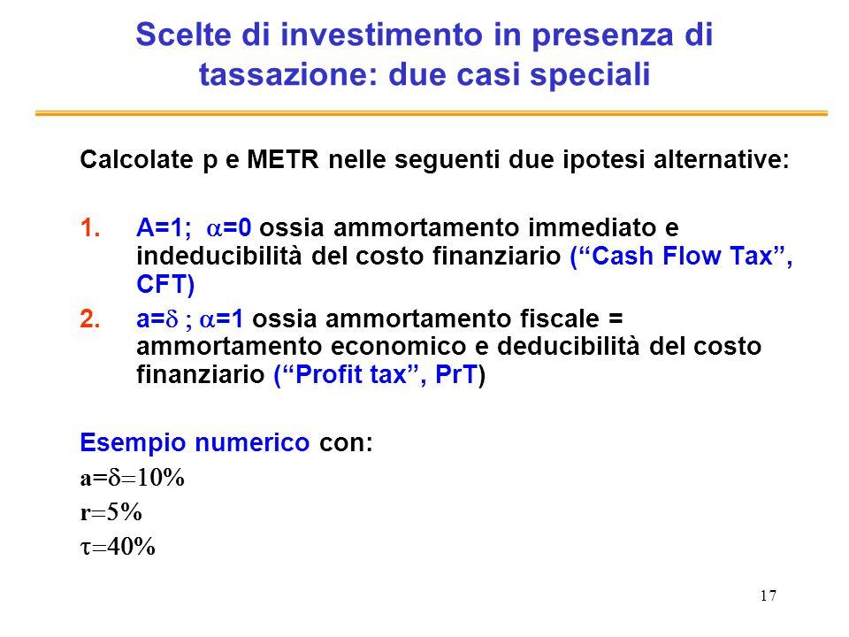 Scelte di investimento in presenza di tassazione: due casi speciali