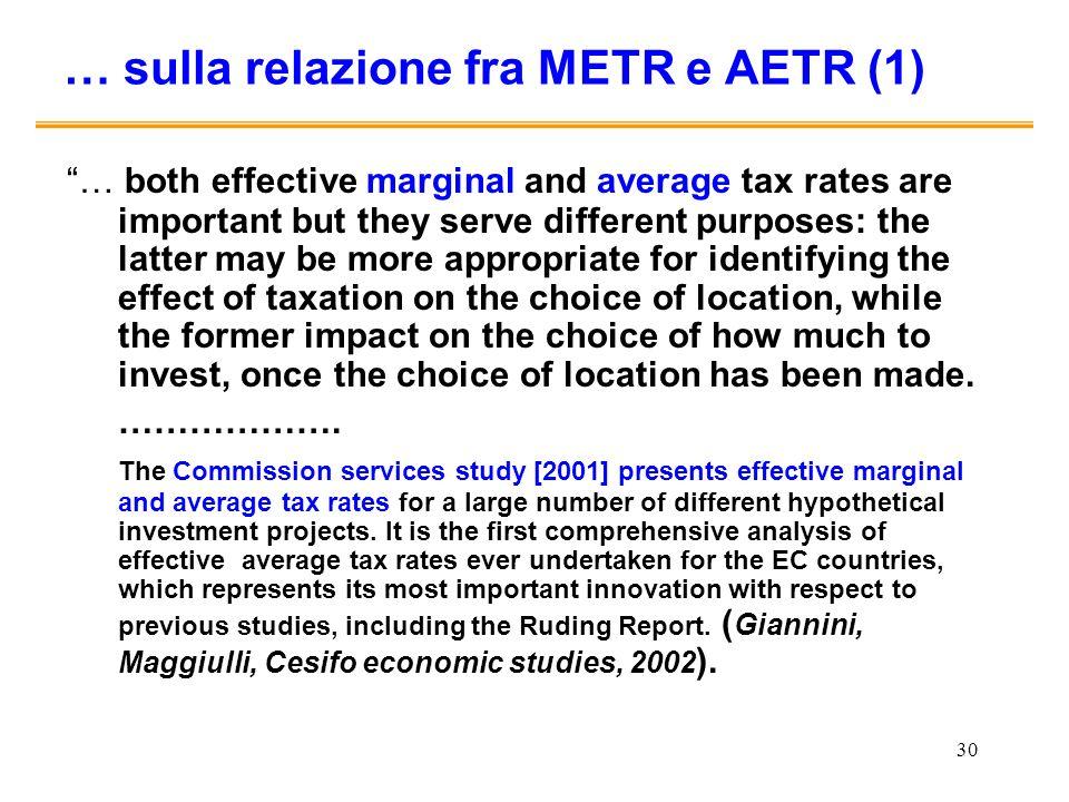 … sulla relazione fra METR e AETR (1)