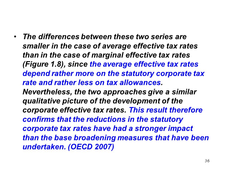 The differences between these two series are smaller in the case of average effective tax rates than in the case of marginal effective tax rates (Figure 1.8), since the average effective tax rates depend rather more on the statutory corporate tax rate and rather less on tax allowances.