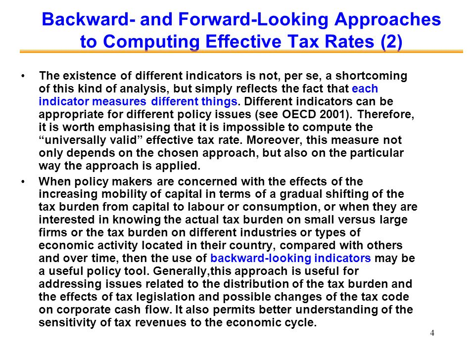 Backward- and Forward-Looking Approaches to Computing Effective Tax Rates (2)