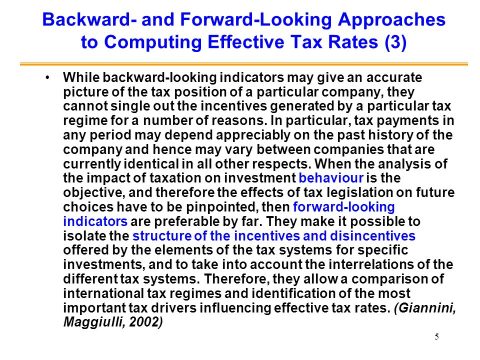 Backward- and Forward-Looking Approaches to Computing Effective Tax Rates (3)