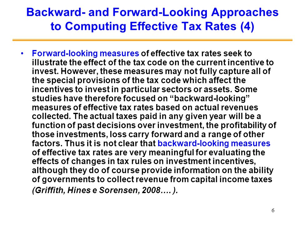 Backward- and Forward-Looking Approaches to Computing Effective Tax Rates (4)