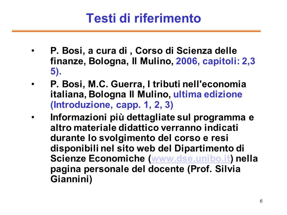 Testi di riferimentoP. Bosi, a cura di , Corso di Scienza delle finanze, Bologna, Il Mulino, 2006, capitoli: 2,3 5).
