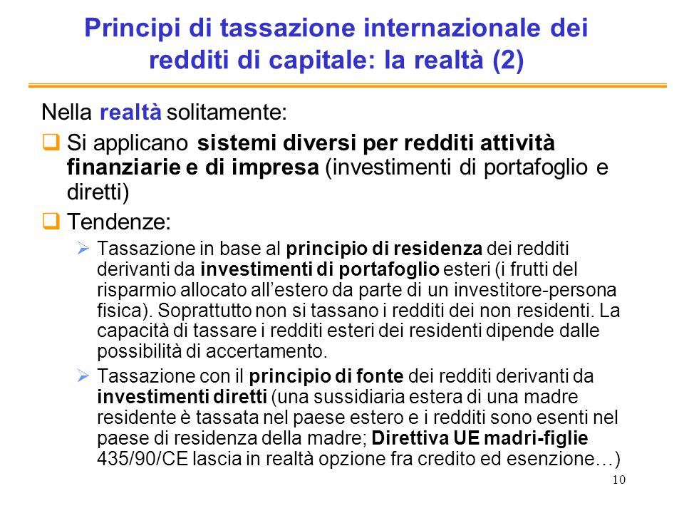 Principi di tassazione internazionale dei redditi di capitale: la realtà (2)