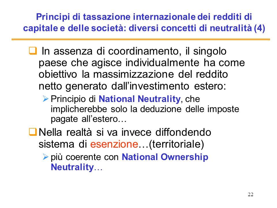 Principi di tassazione internazionale dei redditi di capitale e delle società: diversi concetti di neutralità (4)