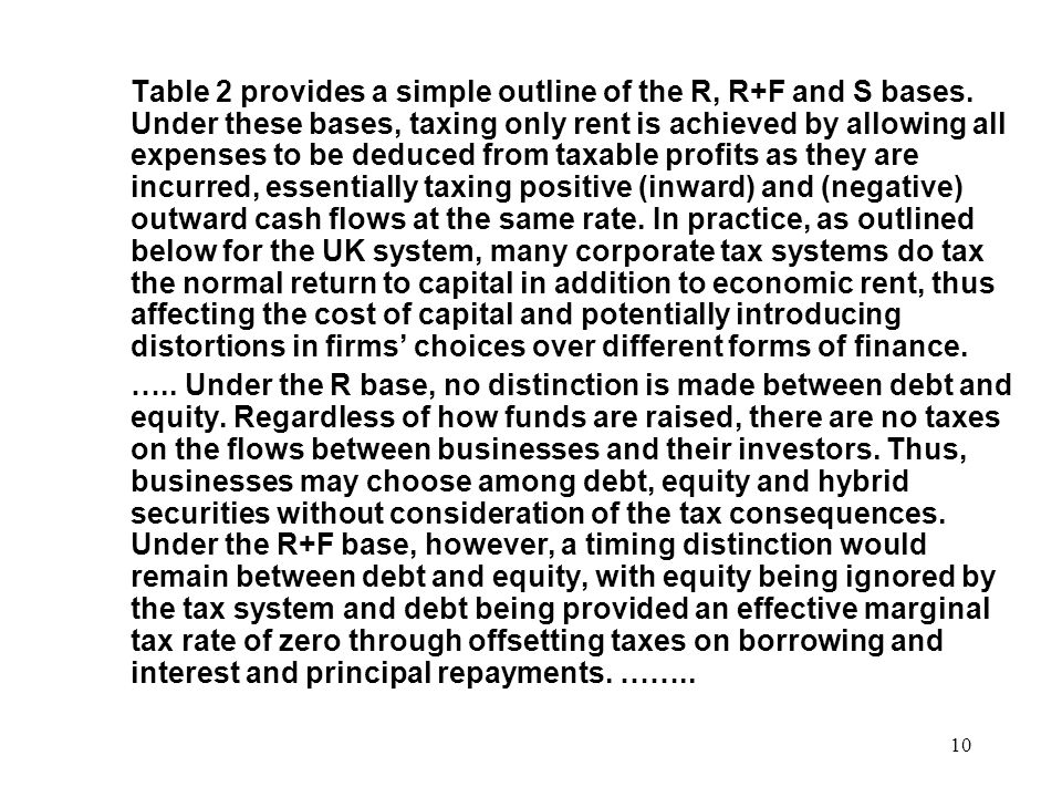 Table 2 provides a simple outline of the R, R+F and S bases