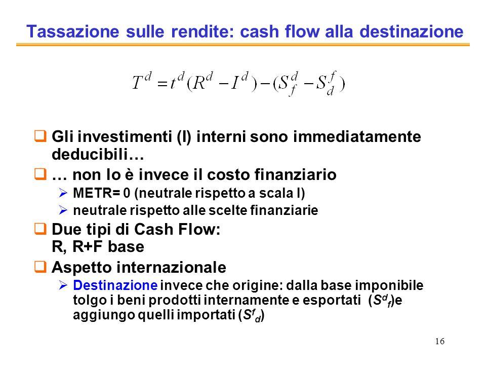 Tassazione sulle rendite: cash flow alla destinazione
