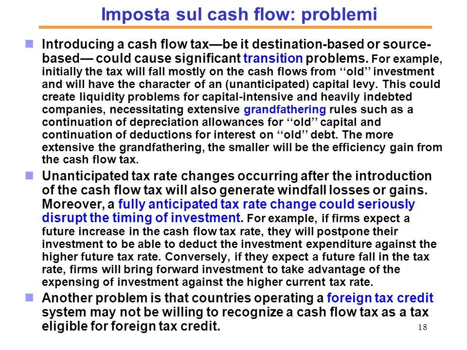 Imposta sul cash flow: problemi