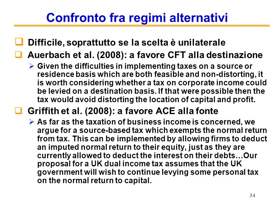 Confronto fra regimi alternativi